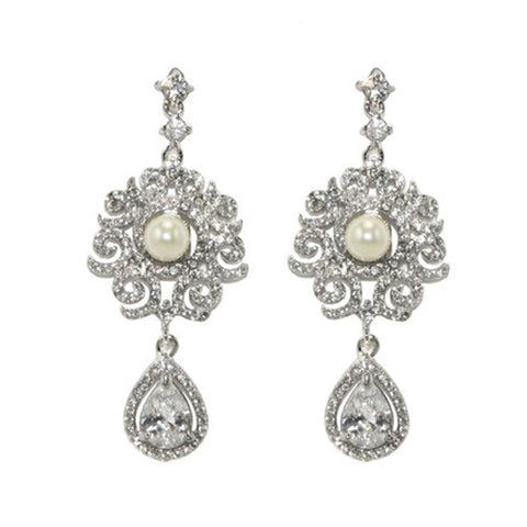 Classic Statement CZ Dangle Brass Earrings