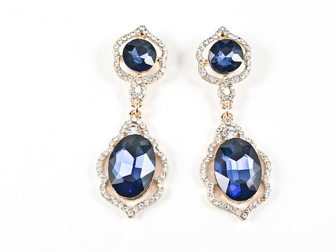 Fancy Round & Oval Shape Sapphire Color Crystal Dangle Fashion Earrings