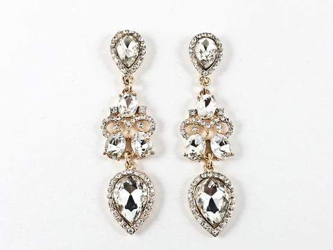 Classic Elegant Mix Shape Dangling Gold Tone Fashion Earrings
