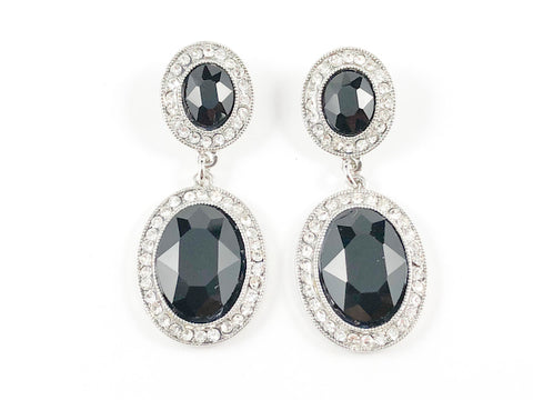 Fancy Black Stones Drop Fashion Earrings