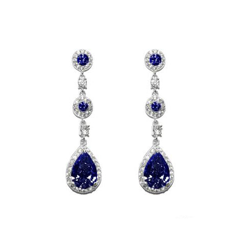 Classic Sapphire Color CZ Dangle Brass Earrings