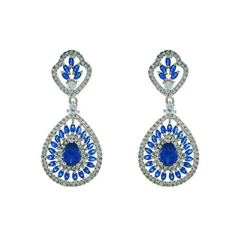 Classic Elegant Open Works Accented Design Brass Earrings