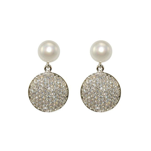 Classic Pearl With Pave Round Disc Drop Brass Earring