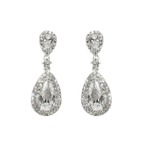Classic 2 Center CZ Design Drop Brass Earrings