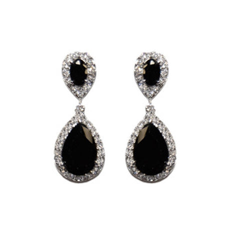 Classic Drop Design With 2 Center Black Color CZ Brass Earrings