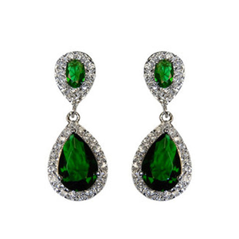 Classic Drop Design With 2 Center Emerald Color CZ Brass Earrings