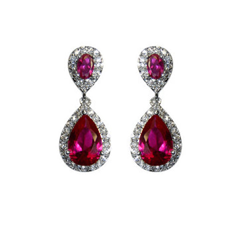 Classic Drop Design With 2 Center Ruby Color CZ Brass Earrings