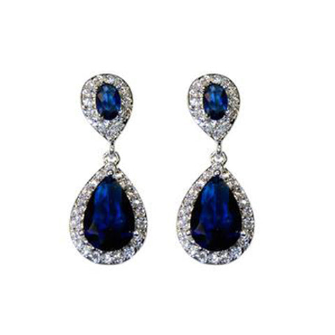 Classic Drop Design With 2 Center Sapphire Color CZ Brass Earrings