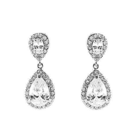 Classic Drop Design With 2 Center Clear CZ Brass Earrings