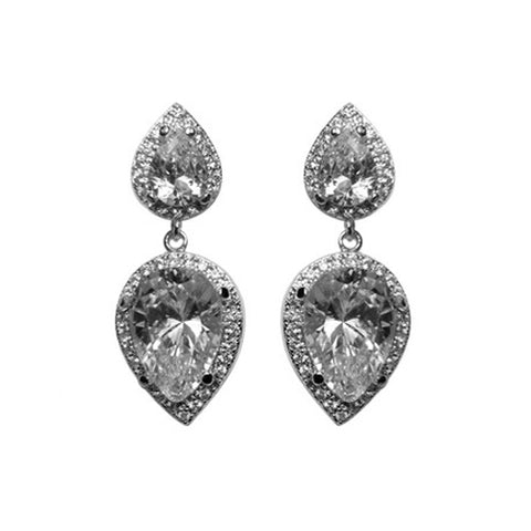 Classic Stylish Sharp Pear Shaped 2 Center CZ Stone Dangle Brass Earrings
