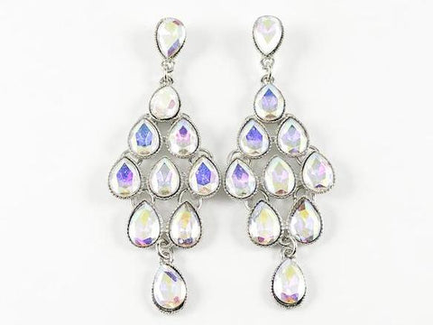 Classic Elegant Aurora Borealis Pear Shape Chandelier Fashion Earrings