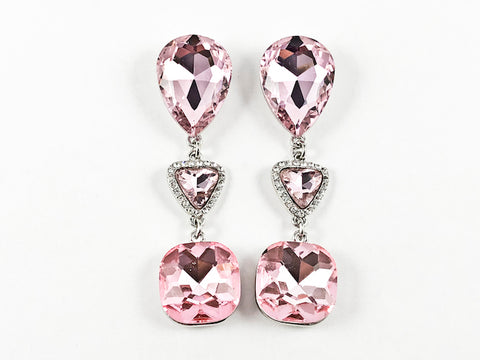 Fancy Large Pink Crystal Geometric Shape Fashion Earrings