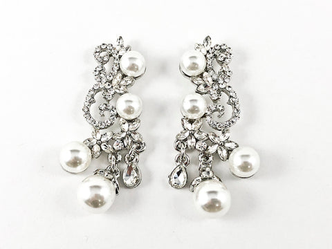 Fancy Vintage Organic Crystal With Pearl Pattern Fashion Earrings