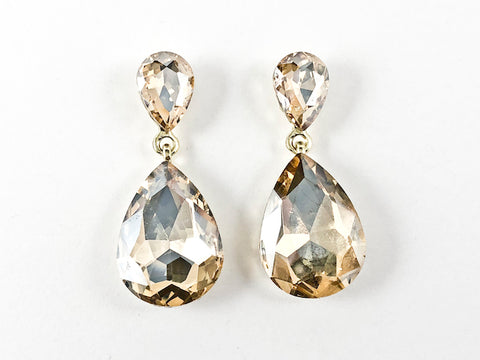 Fancy Simple Large 2 Row Topaz Color Tear Drop Shape Drop Fashion Earrings