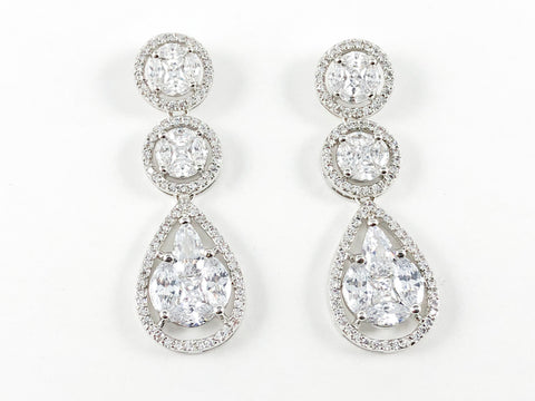 Classic Elegant Round CZ Drop Brass Earrings