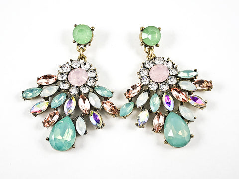 Fancy Stylish Unique Diamond Shape Multi Color Drop Fashion Earrings