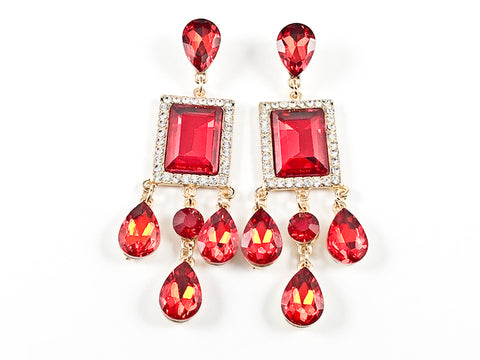 Stylish Modern Rectangle & Pear Shape Ruby Color Stone Drop Fashion Earrings
