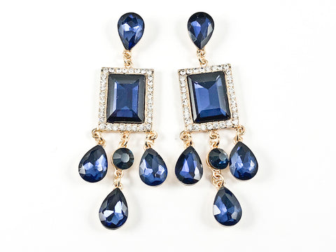 Stylish Modern Rectangle & Pear Shape Sapphire Crystal Stone Drop Gold Tone Fashion Earrings
