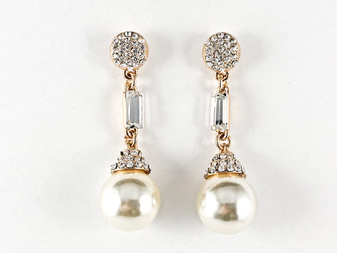 Fancy Slim Crystal Disc With Dangle Pearl Fashion Earrings