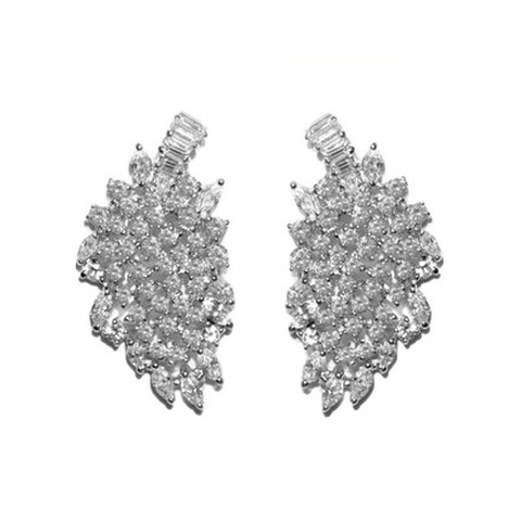 Beautiful Unique Large Thick Leaf Design Statement CZ Brass Earrings