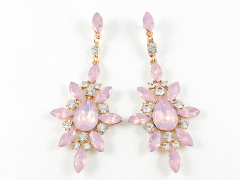 Fancy Stardust Design Pink Color Dangle Fashion Earrings