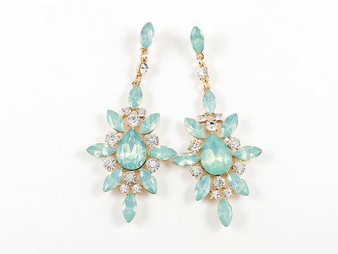 Fancy Stardust Design Teal Color Dangle Fashion Earrings