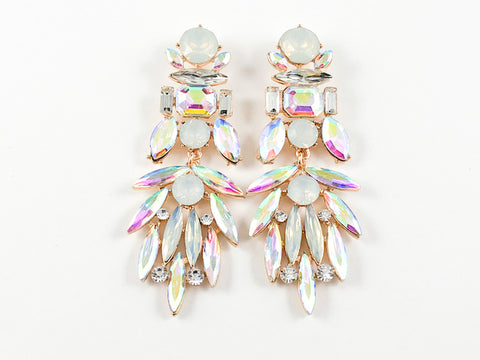 Fancy Stylish Chandelier Dangle Aurora Borealis Color Fashion Earrings