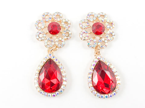 Fancy Round Flower Shape Red Fashion Earrings