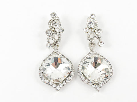 Fancy Vintage Diamond Shape Large Drop Fashion Earrings