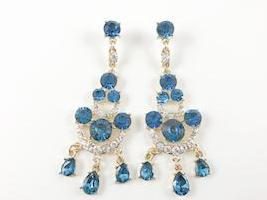 Blue Color Yellow Gold Tone Chandelier Fashion Earrings