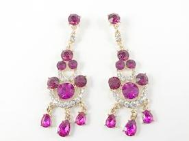 Fuchsia Color Yellow Gold Tone Chandelier Fashion Earrings