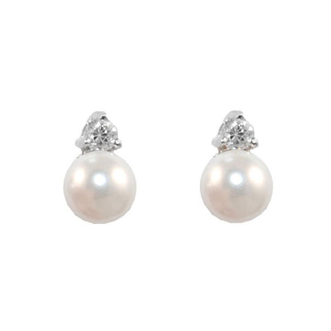Beautiful Cute CZ With Pearl Design Brass Earrings