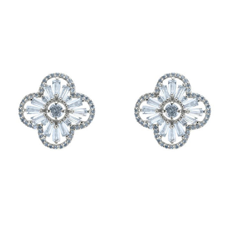Beautiful Elegant Clover Shape Fine Baguette Setting CZ Brass Earrings