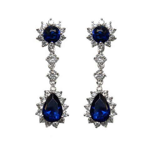 Classic Sharp Sun Frame Round & Pear Shape Sapphire CZ Brass Earrings