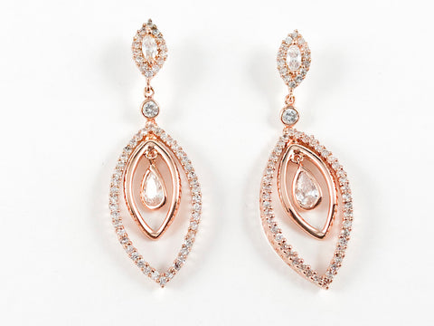 Rose Gold Elegant Dangling Design Brass Earrings