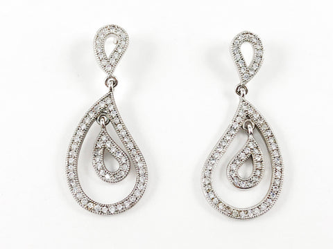 Classic Unique Pear Shaped CZ Drop Brass Earrings