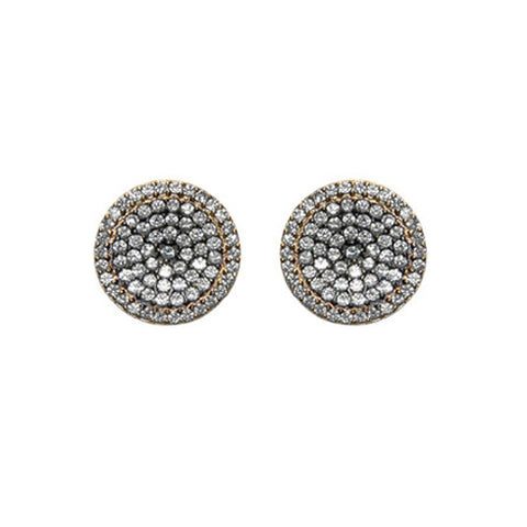 Beautiful Round Disc Multi Color Pattern Pave Style CZ Stud Brass Earrings