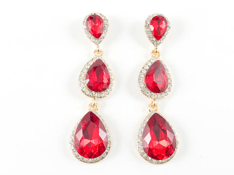 Fancy 3 Level Pear Shape Red Color Fashion Earrings