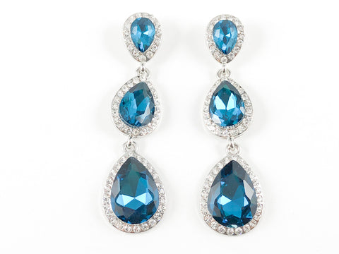 Fancy 3 Level Pear Shape Aquamarine Color Fashion Earrings