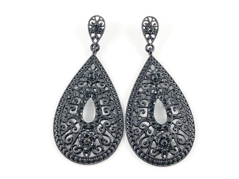 Fancy Vintage Pear Shape Black Design Fashion Earrings