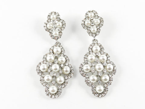 Fancy Antique Pearl Floral Design Fashion Earrings