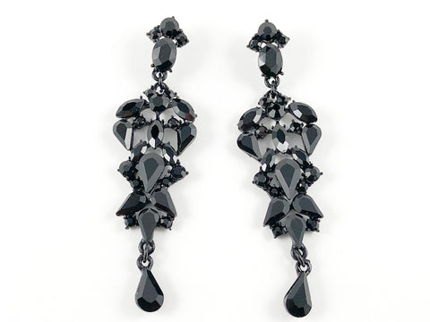 Fancy Pear Shape Black Color Chandelier Fashion Earrings