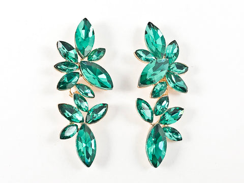 Fancy Stylish Sharp Geometric Design Green Fashion Earrings