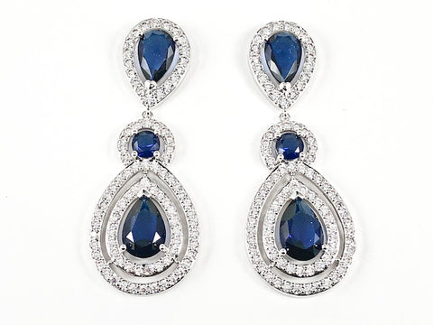 Classic Pear Shape Double Layer Center Sapphire CZ With Clear CZ Frame Dangle Brass Earrings