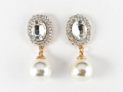 Fancy Antique Round Mirror Design With Pearl Dangle Gold Tone Fashion Earrings