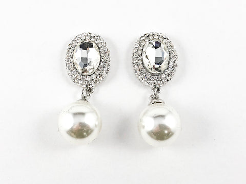 Fancy Antique Round Mirror Design With Pearl Dangle Fashion Earrings