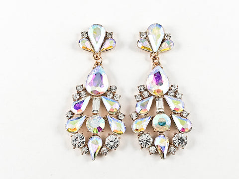 Fancy Unique Sparkly Multi Shape Aurora Borealis Crystal Fashion Earrings