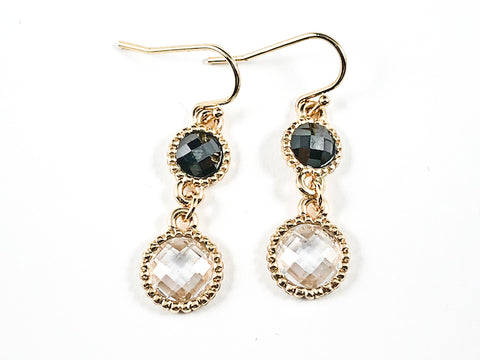 Elegant Round Shape Black & Clear CZ Gold Tone Fish Hook Brass Earrings