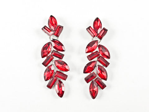 Fancy Elegant Leaf Style Ruby Color Dangle Fashion Earrings