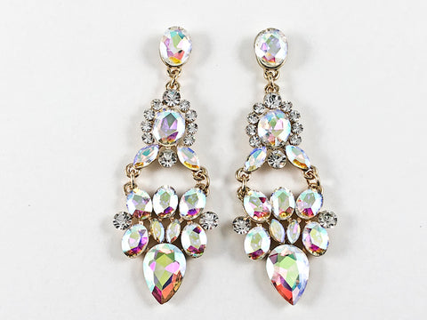 Fancy Stylish Mix Shape Chandelier Aurora Borealis Dangle Fashion Earrings